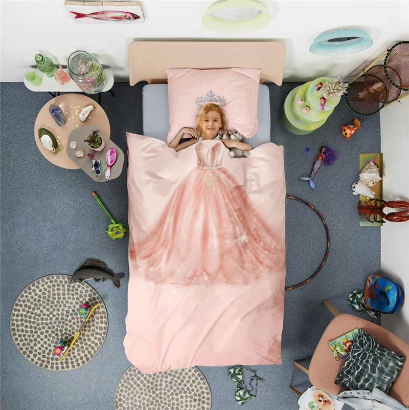 Pink cartoon dream princess Personality 3D 100% cotton Bedding Set Duvet Cover Bed Linen Bed sheet Pillowcases Gift For Child