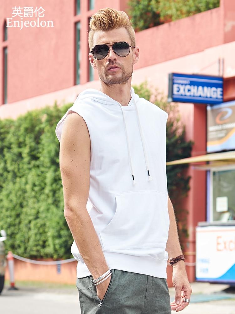 Enjeolon Summer Vest solid cotton vest men hoodies   Tank     Top   for Men fashion hoodies Vest Casual Fashion Tees   Tops   for men T8139