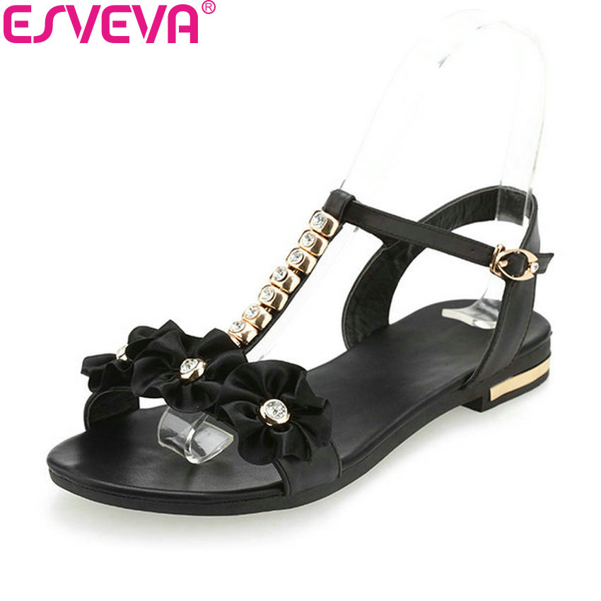 ESVEVA 2018 Women Sandals Shoes Simple and Fashion Style Flower Summer Sandals Low Heel Casual Leather PU Women Shoes Size 34-43 xiuningyan horsehair sandals women flat heel sandals fashion summer low heel shoes woman sandals summer plus size free shipping
