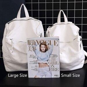 Image 5 - Anti Theft Backpack Women Casual Large Anti theft Backpacks for Travel White Zipper Soft PU Leather Antitheft Backpack Female