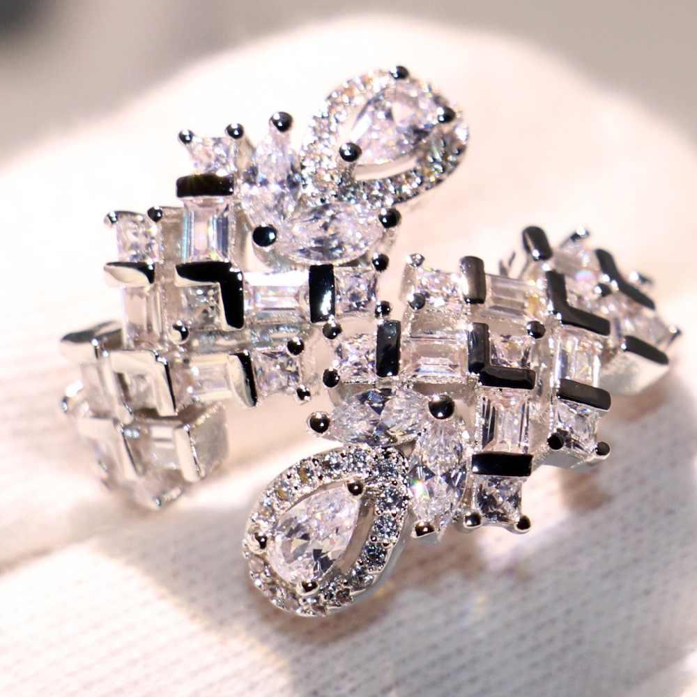 Choucong Marca Gota de Água Jóias de Luxo 925 Prata Princesa CZ Anéis da Serpente Sorte Festa de Casamento Anel Aberto Ajustável