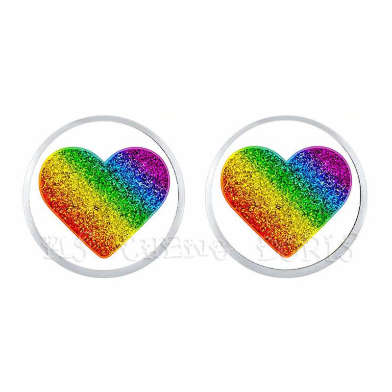 Sadece aşk gökkuşağı hipoalerjenik kulak tırnak kadın erkek eşcinsel lezbiyen Pride gökkuşağı aşk kazanır LGBT cam kubbe damızlık küpe