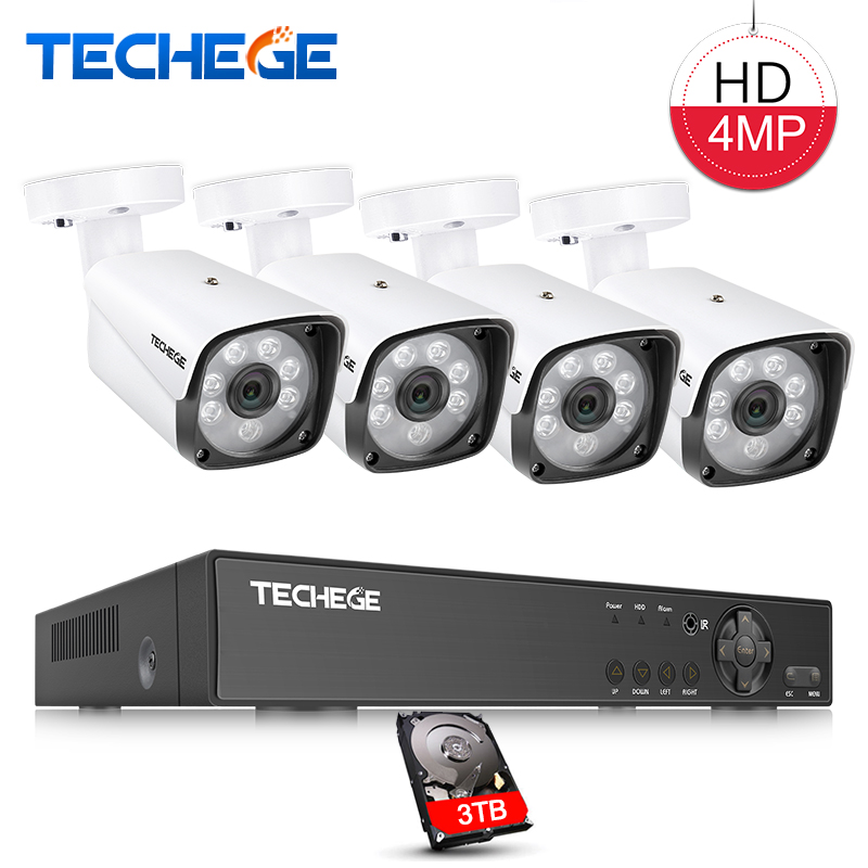 Techege 4MP CCTV Surveillance Kit 4CH DVR 1080P 2K Video Output 4mp 2560*1440 Security AHD CCTV Camera System Kit Remote View vga 4ch color cctv security camera quad processor remote control