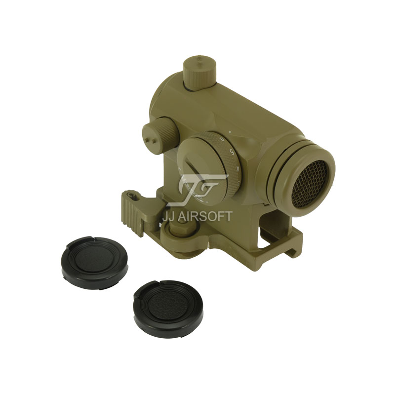JJ Airsoft Micro 1x24 Red Dot with QD Riser Mount & Killflash / Kill Flash (Tan) jj airsoft micro 1x24 red dot with killflash kill flash