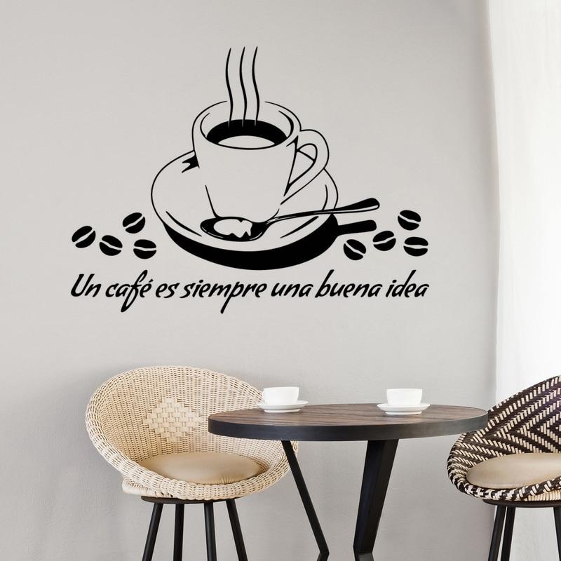 Black creative coffee cups cafe tea wall stickers art for Tea and coffee wall art