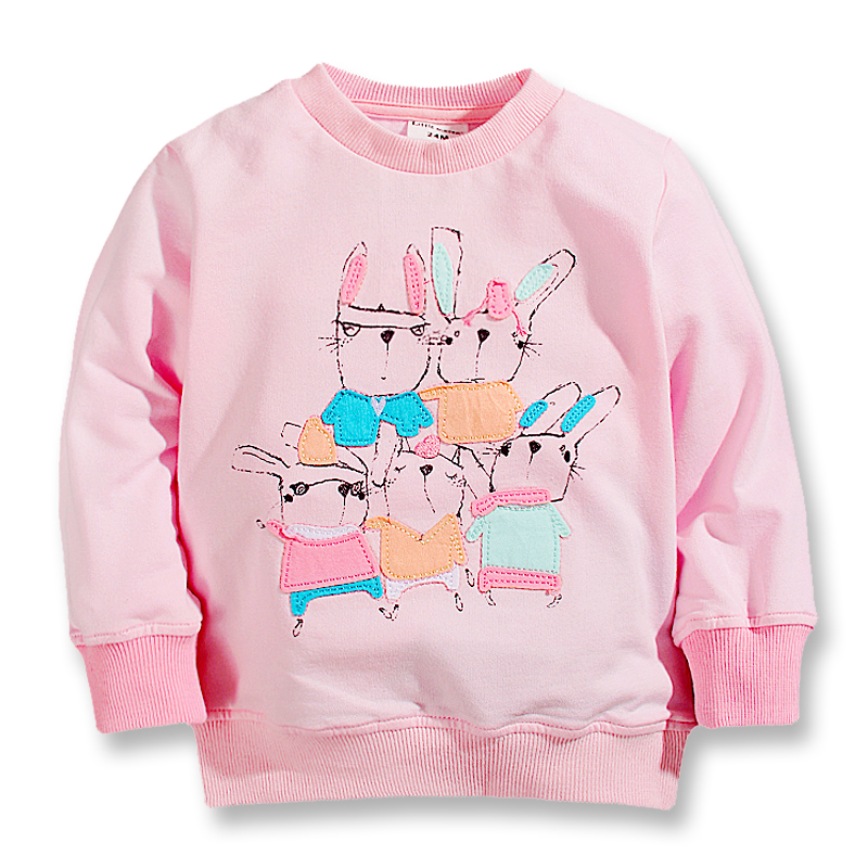 New fall spring baby girls t-shirts,cotton long sleeve tops,children tees printed cool rabbits,kids casual clothes(2- 7 Yrs)