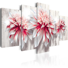5 Pieces Canvas Art Three beautiful pink flowers Painting Home Decor Print Wall Art Picture for