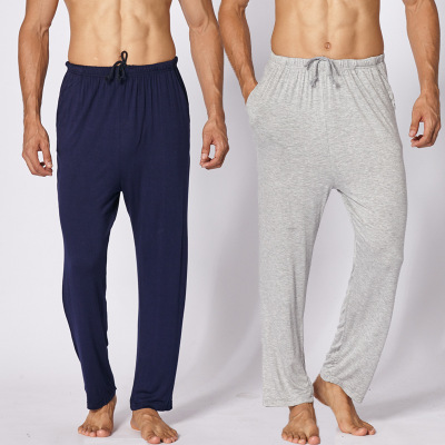 Daeyard Modal Sleep Bottom For Men Spring Summer Long Johns Casual Trousers Plus Size Pajamas Elastic Pants Soft Sleepwear