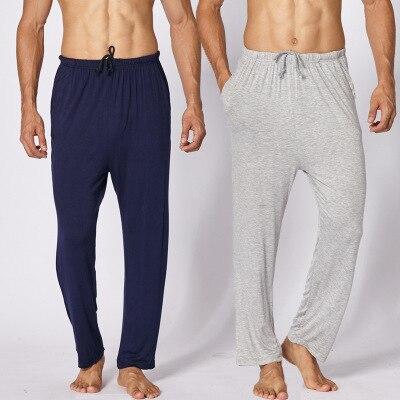 Daeyard מודאלי שינה תחתון לגברים אביב קיץ תחתונים ארוכים מזדמן מכנסיים בתוספת גודל פיג 'מה אלסטי מכנסיים רך הלבשת