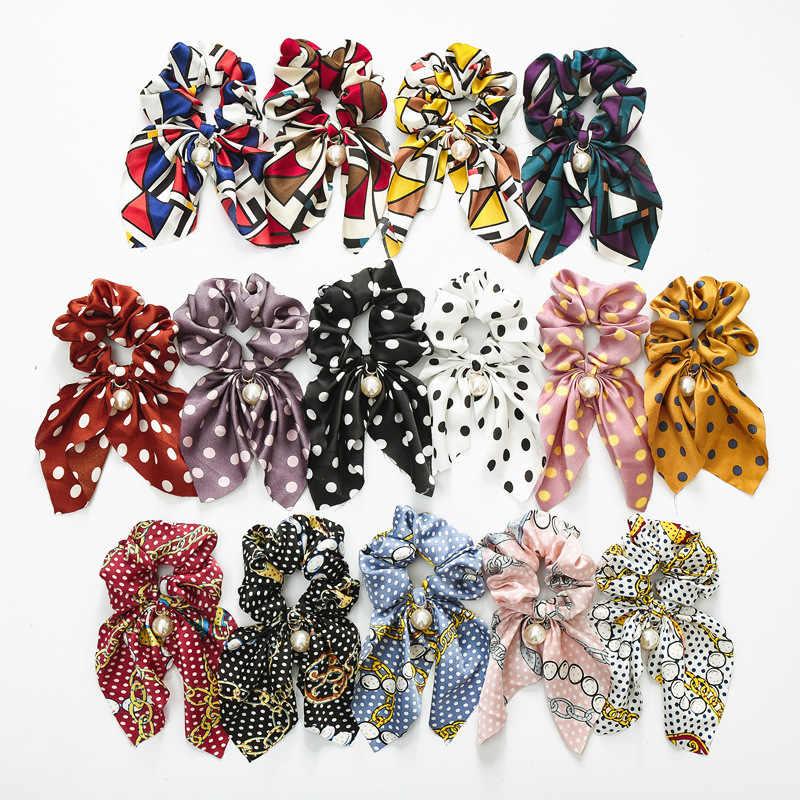 Novo Chiffon de Seda Bowknot Cabelo Scrunchies Mulheres Pérola Rabo De Cavalo Titular Cabelo Laço de Cabelo Corda Elásticos De Cabelo Acessórios Headwear