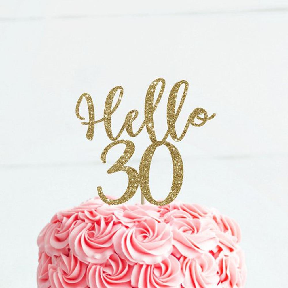 Custom Happy Birthday cake topper,Hello 30/age Birthday  Cake Topper , Birthday Party Cake Topper Decoration SuppliesCustom Happy Birthday cake topper,Hello 30/age Birthday  Cake Topper , Birthday Party Cake Topper Decoration Supplies