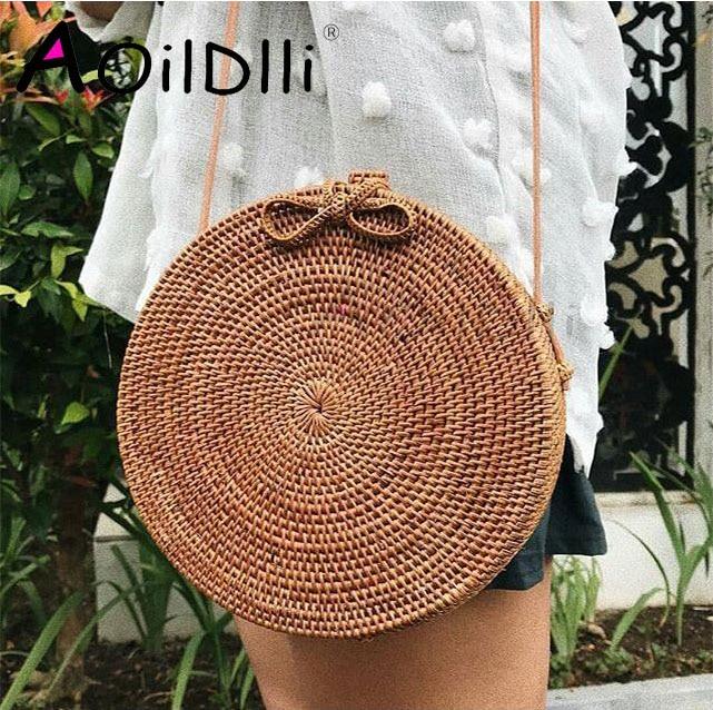 5d99f3acd INS Bali bag Women Hand Woven Round Rattan Straw Bag Bohemian Beach ...
