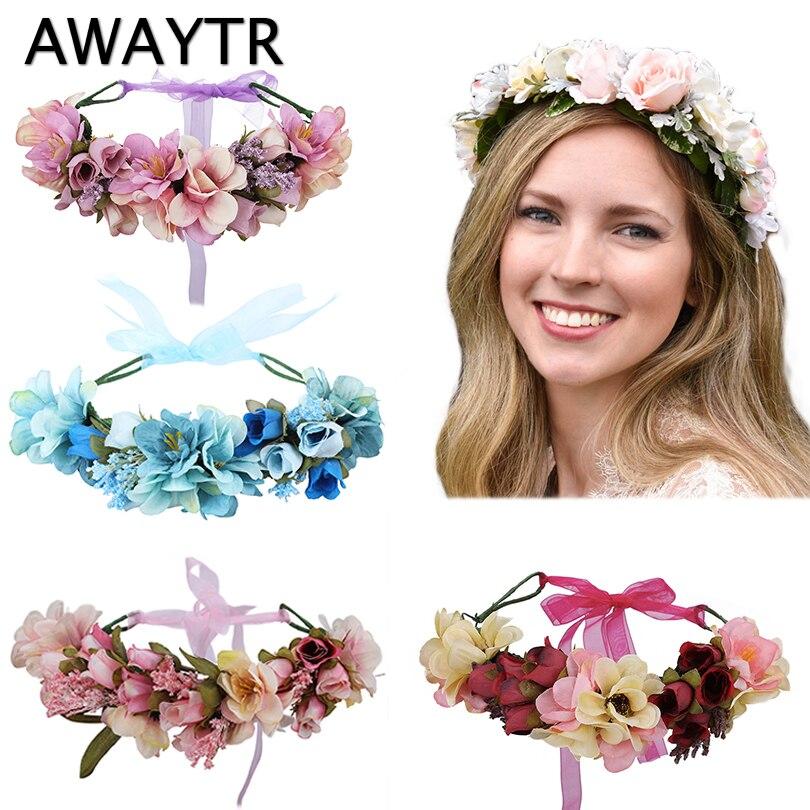 Женский цветочный венок AWAYTR, свадебный аксессуар для волос в стиле бохо, свадебная корона с цветами для фотосессии или вечеринки