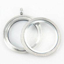 Hot selling 30mm stainless steel twist floating locket necklace round silver sparkles screw open glass memory locket
