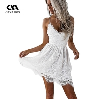 CAYA BOX White Lace Women Backless Dresses V Neck Camisole Black Women Clothings For Ladies Mini