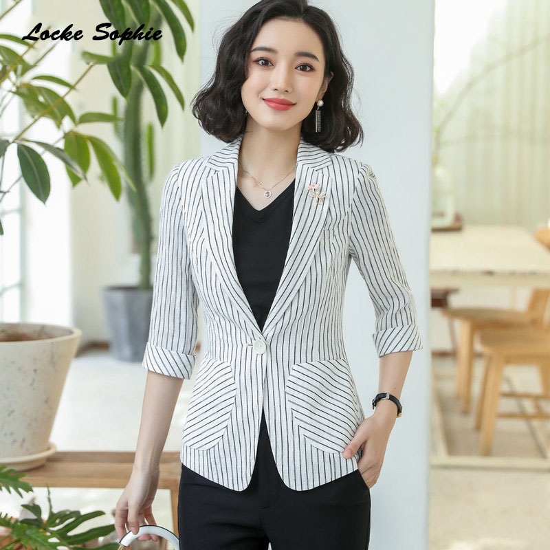 1pcs Womens Plus size Blazers coats 2019 Autumn cotton blend stripe Small pockets Small Suits jackets ladies Skinny Blazers Suit(China)