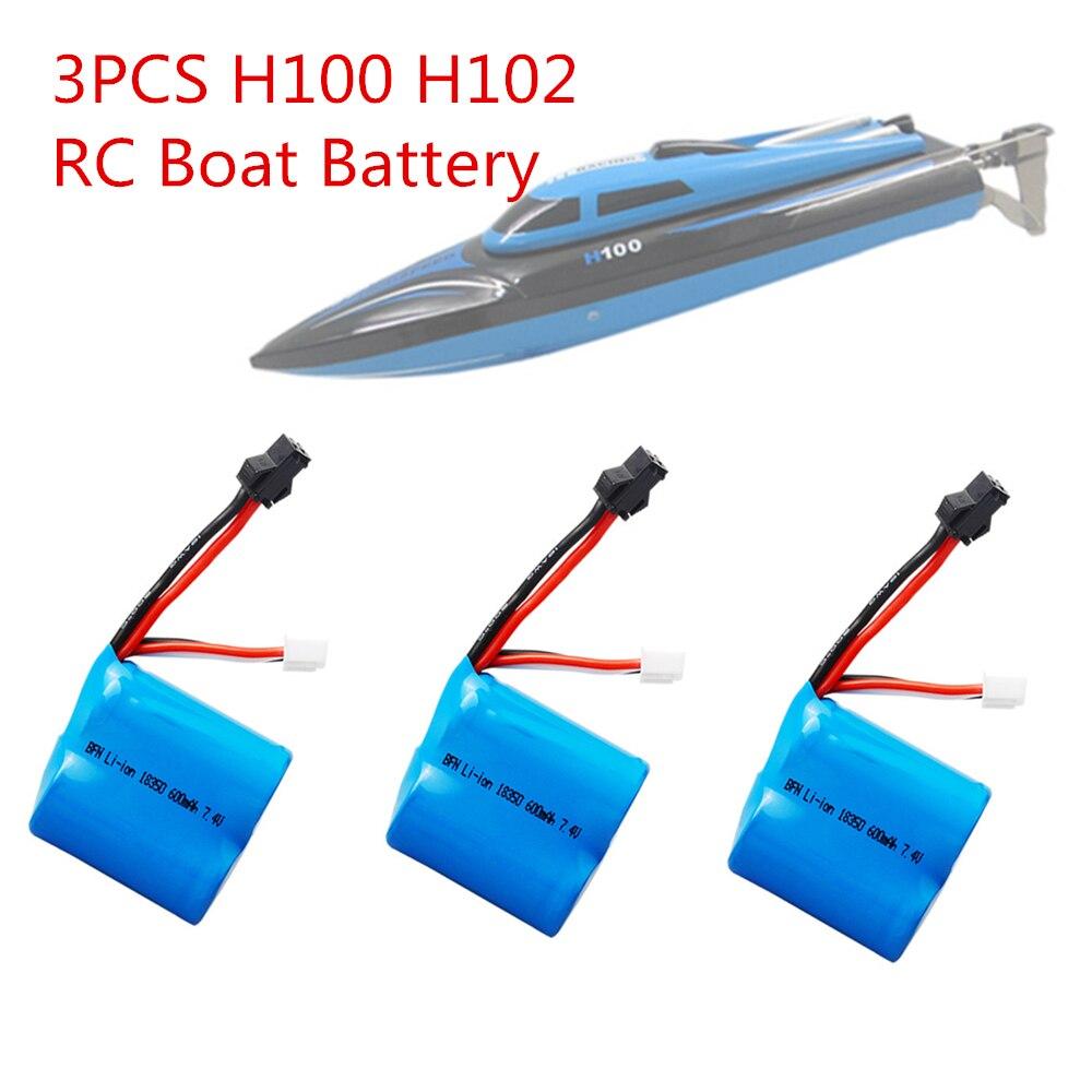 3pcs 7.4v 600mAh 18350 Li-ion battery for H100 H102 high speed RC boat Li-ion Battery