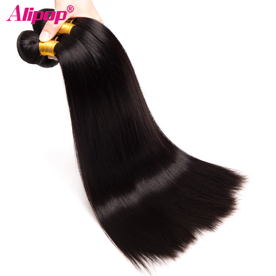 4 Bundles Indian Hair Straight hair Bundles 100% Human Hair Extensions Remy Hair Bundles Alipop Double Weft No shedding