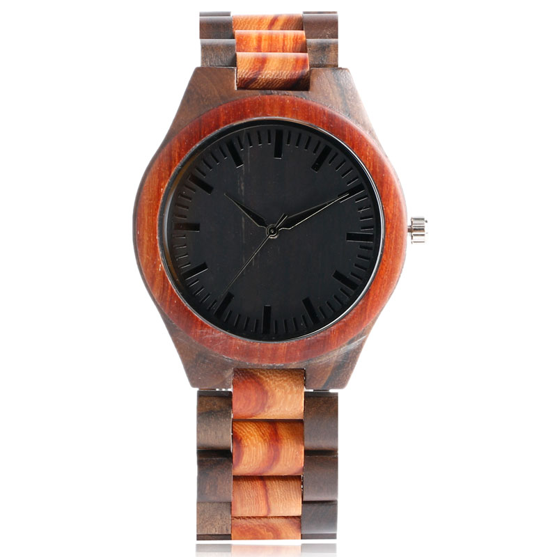 Hand-made Natural Wood Mens Quartz Watch Wooden Watchband Bracelet Clasp Simple Design Dial High Quality Male Watches Gift fashion top gift item wood watches men s analog simple hand made wrist watch male sports quartz watch reloj de madera