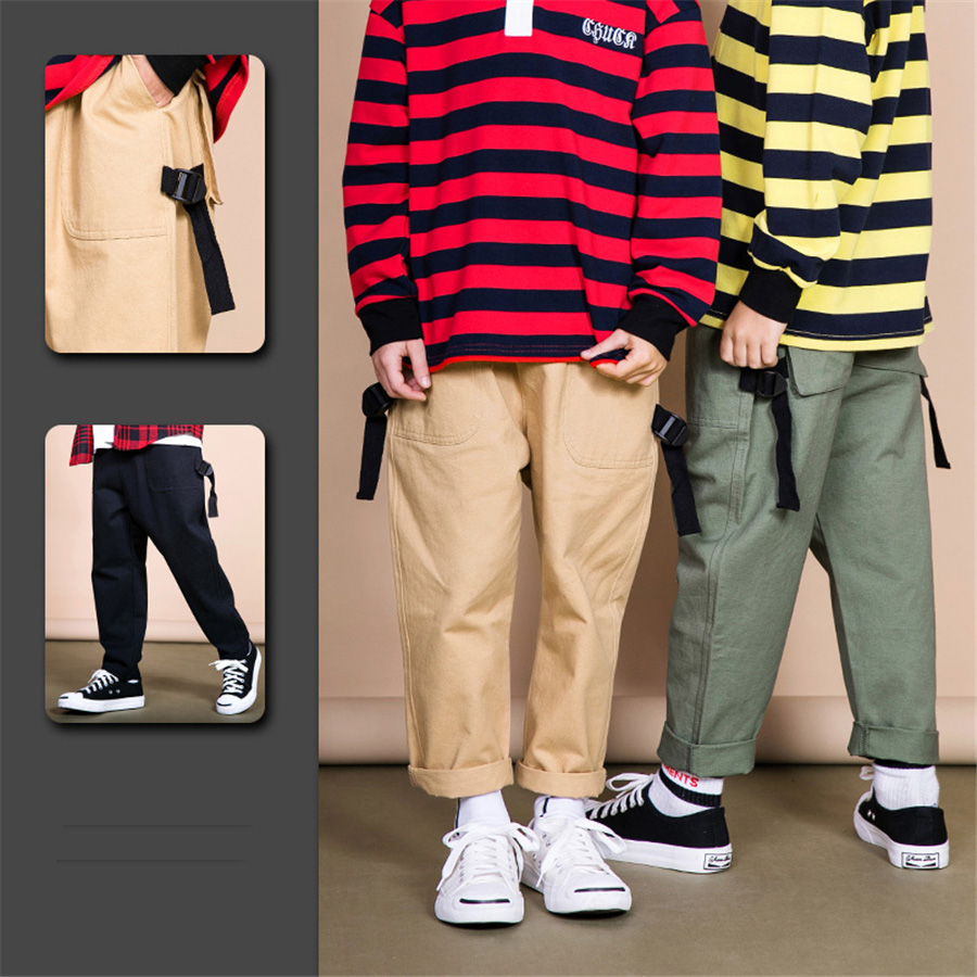 Boys trousers unisex fashion streetwear girl leggings children leggings kids summer clothes boy pants kids Black green khaki