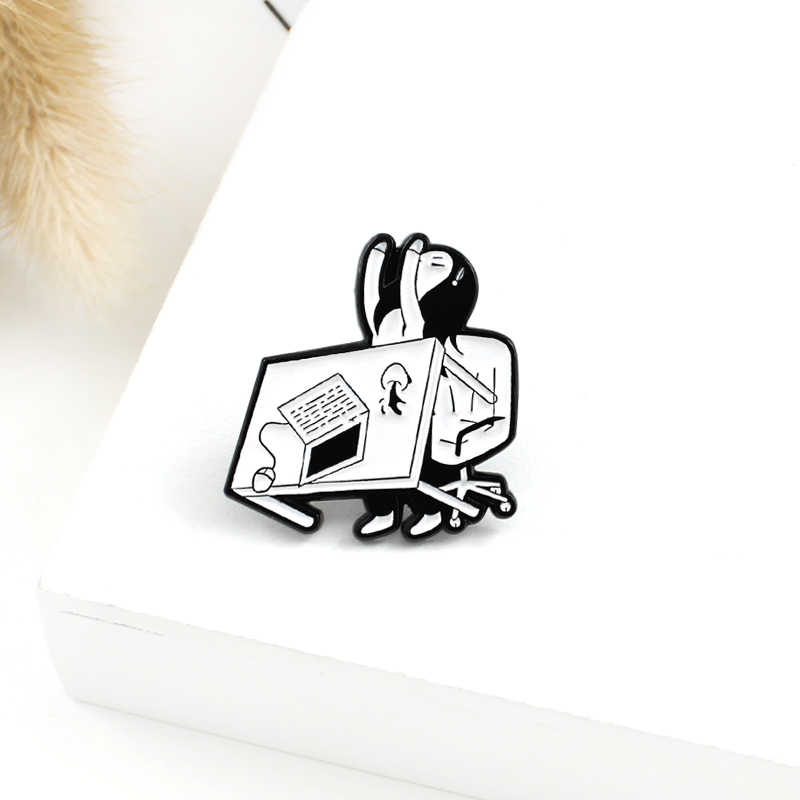 Tired Angry Girl Enamel Brooch Office Girl Overturned Table Coffee Funny Pin Backpack Shirt Lapel Badge Inspirational Jewelry