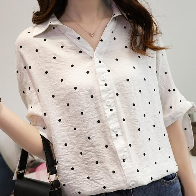 Loose נשים 4xl לבן חולצה טוניקת חולצה מנוקדת שיפון Blusas Femininas קשת בתוספת גודל אישה חולצות נופל כתף שרוול חדש