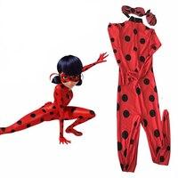 Kids Zip The Miraculous Ladybug Cosplay Costume Halloween Child Spandex Lycra Second Skin Tight Suit Ladybug