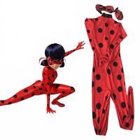 Kids Zip The Miraculous Ladybug Cosplay Costume Halloween Child Spandex Lycra Second Skin Tight Suit Ladybug