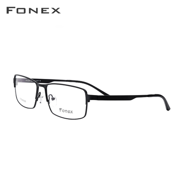d9af7ece7a Montura de gafas de aleación de titanio para hombre, gafas cuadradas de  Metal, montura óptica completa con prescripción de miopía, ...