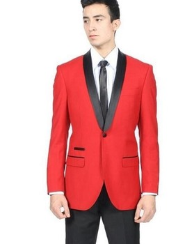 Handsome Style One Button red Groom Tuxedos Shawl Lapel Groomsmen Best Man Mens Wedding Suit (Jacket+Pants+Tie) W:332
