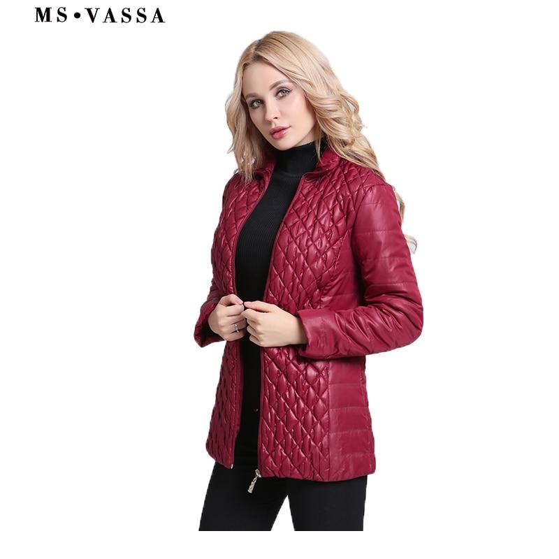 MS VASSA Őszi Parkas Nők 2018 Női téli kabátok pamut bélelt divatfilmes rugalmas kabátok és méret 6XL 7XL felsőruházat