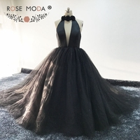 Rose Moda Halter Off Shoulder Black Ball Gown Backless Bling Formal Puffy Evening Dress 2017
