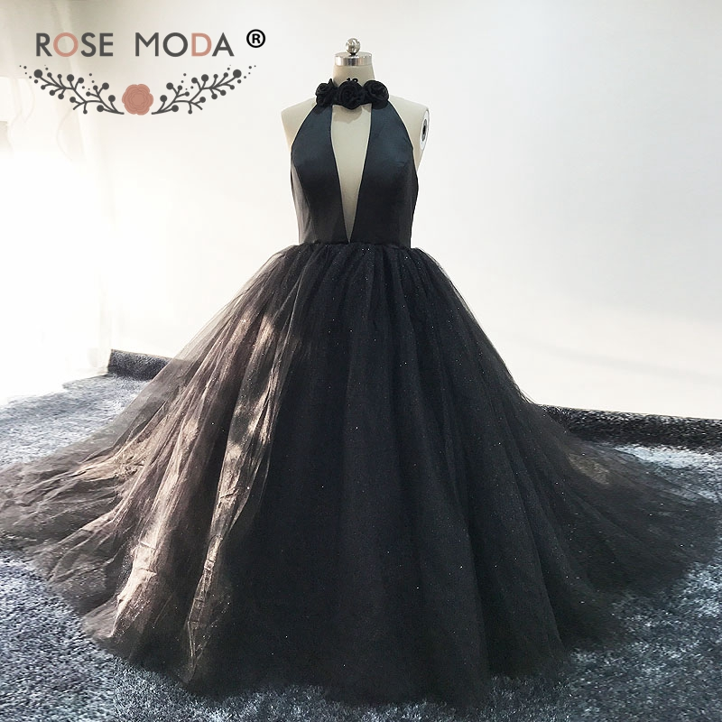 Rose Moda Halter Black Ball Gown Backless Formal Long   Evening     Dress   Glittering   Evening     Dresses   2018