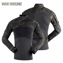 цена на Tactical shirt camouflage T - shirt breathable sweat absorbent cotton outdoor sports fans wear assault long sleeves