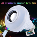 12W Wireless E27 SMD5050 LED RGB Bluetooth Speaker Bulb Music Playing Light Lamp With 24 Key Remote Controller AC100-240V