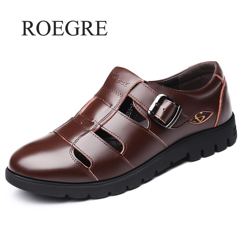 Men Sandals Genuine Leather Sandals Men Outdoor Casual Men Leather Sandals For Men Beach Shoes Roman Shoes Plus Size 38-47(China)