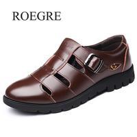 Men Sandals Genuine Leather Sandals Men Outdoor Casual Men Leather Sandals For Men Beach Shoes Roman Shoes Plus Size 38 47