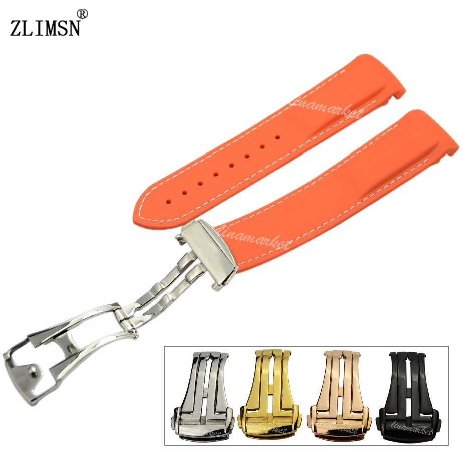 1adfe49260a 22mm NEW Orange Diver Rubber band strap with deployment clasp For ...
