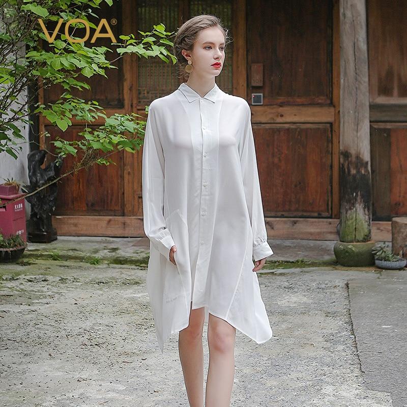 VOA D'été De Mode Lâche Chemise De Soie Blanche Femmes Ressort Plus La Taille 5XL À Manches Longues Sexy Solide Casual Bureau Blouse B5352