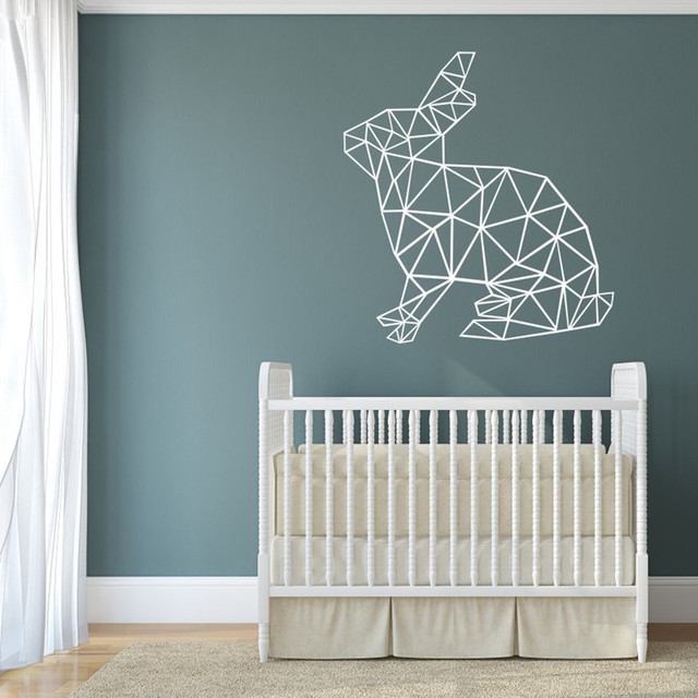 DIY Wall Decals Geometric Rabbit Wall Sticker Type Vinyl Stickers Geometry  Animal Wall Art Decorative M42