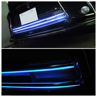 JY 2pcs Blue Led Illuminated Front Bumper Grill Trim Car Styling Cover Accessories For Toyota Alphard