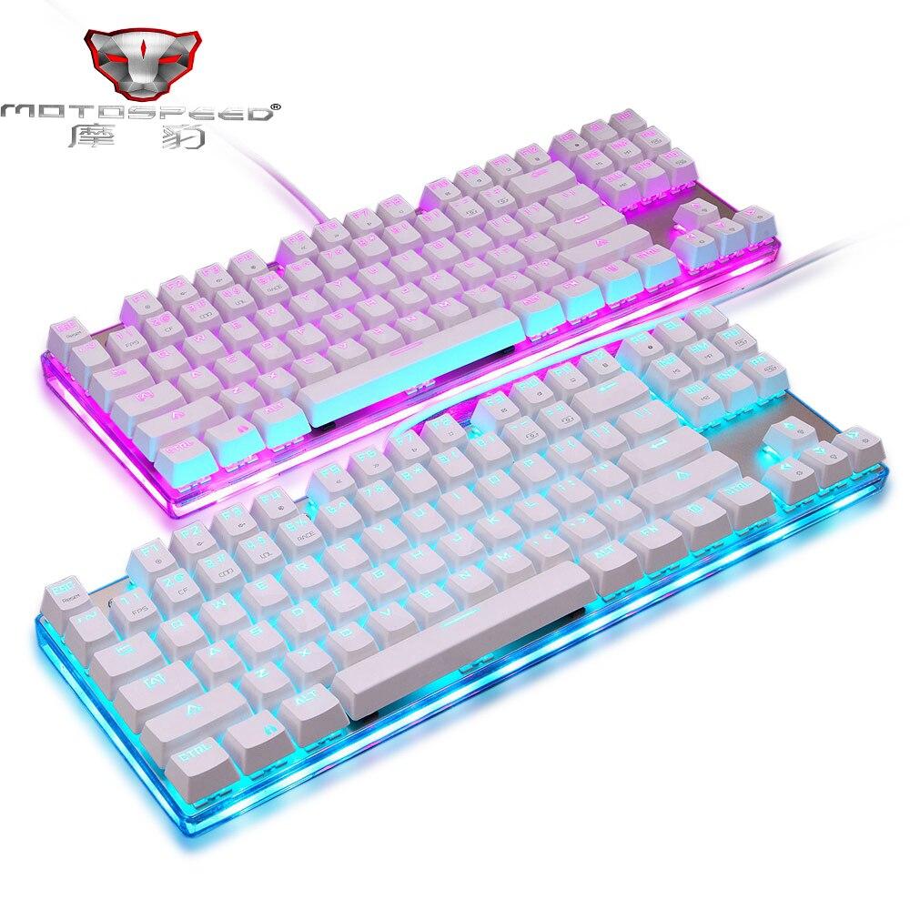 2019 Новый Motospeed K87S ABS USB2.0 Проводная Механическая клавиатура синий переключатели Gamer клавиатура с RGB Подсветка 87 Ключи для ПК
