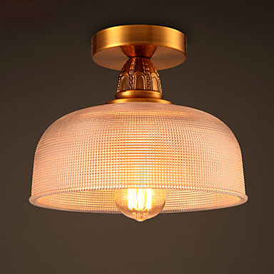 Edison Retro Vintage ceiling Lights Fixtures Living Room Ceiling Lamp Luminaire home Lighting Flower Shade Clear Glass