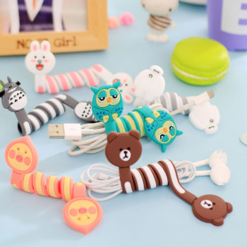 100PCS Lovely Cartoon Cable Winder USB Charging Cord Holder For Iphone Ipad Mp5 Multi-styles Cable Wire Organizer