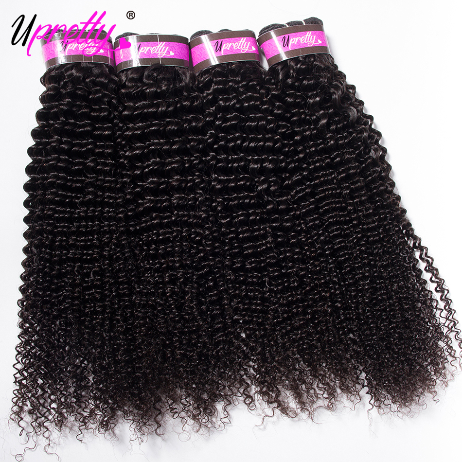 Upretty Hair Brazilian Hair Kinky Curly 4 Bundles 10-28 inch Natural Color 100% Remy Human Hair Extensions Curly Weave Bundles