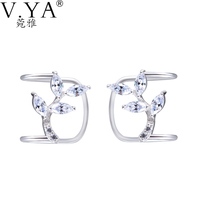 Terrific White Crystal Clip Earring 925 Sterling Silver For Women Flower Ear Cuff Clips On Earrings