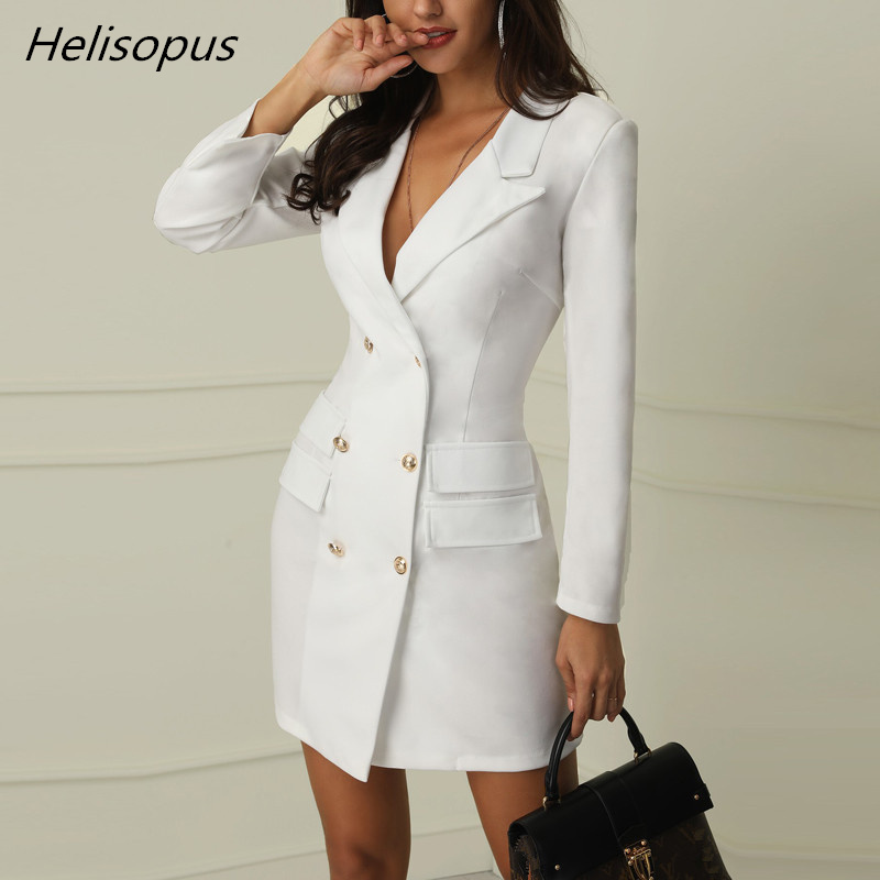 Helisopus Autumn Winter Women Blazers and Jackets Double Breasted Slim Long Jackets Office Lady Elegant Blazer Outerwear(China)