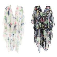 Women Travel Outdoor Half Sleeves Chiffon Kimono Cape Bohemian Colorful Tropical Leaves Floral Printed Cardigan Semi-Sheer Loose novelty collarless half sleeves high low tassel embellished kimono for women