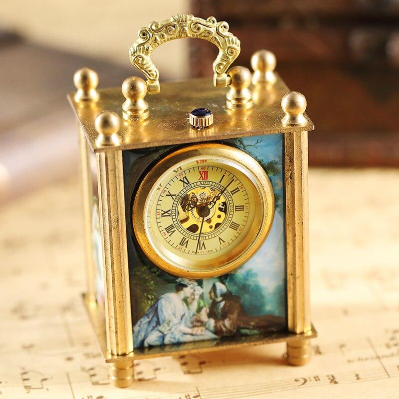 Antique Imprimé Art Peinture Mécanique Main Vent Montre Rétro Carré Horloge De Bureau Vintage Redevance Vie Rome Réveil