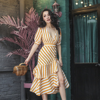 2018 Summer Classic Vintage Striped Mermaid Dress Irregular Patchwork Stylish Long Dress Puff Sleeve Ruffles Dress